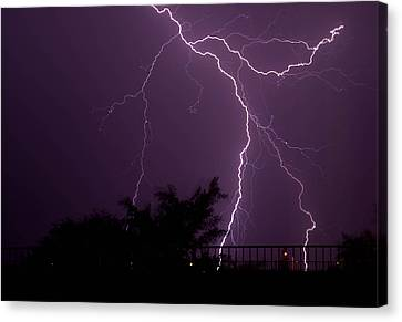 Multiple Lightning Strikes In Casa Grande Arizona Canvas Print by Chris Spangler