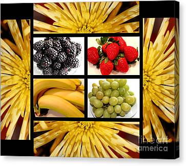 Mums Fruit Collage Canvas Print by Barbara Griffin