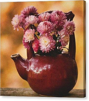 Canvas Print featuring the photograph Mums In A Teapot Still Life by Peggy Collins