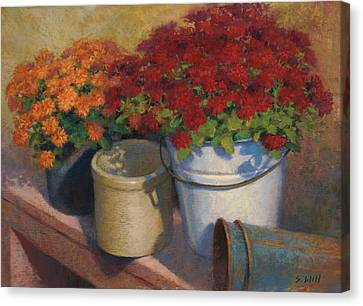 Mums On A Bench Canvas Print
