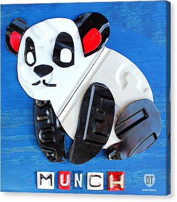 Munch The Panda License Plate Art Canvas Print