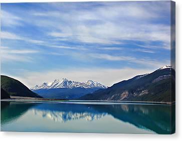 Muncho Lake Bc Canada Canvas Print by Leslie Kirk