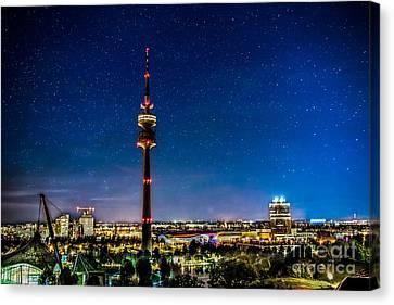 Munich City Nights - Olympiapark Canvas Print by Hannes Cmarits