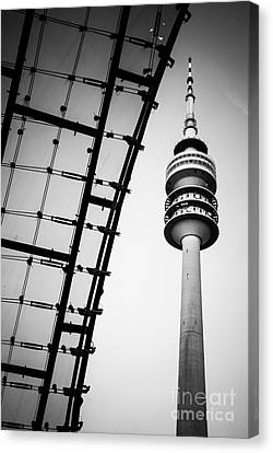 Hannes Cmarits Canvas Print - Munich - Olympiaturm And The Roof - Bw by Hannes Cmarits