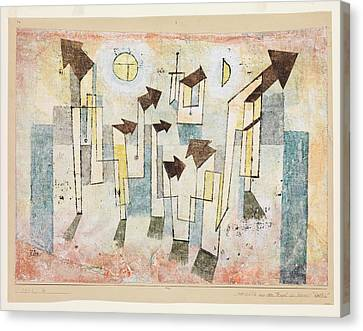 Mural From The Temple Of Longing Thither Canvas Print by Paul Klee
