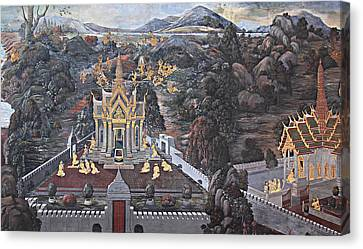 Mural - Grand Palace In Bangkok Thailand - 01132 Canvas Print by DC Photographer