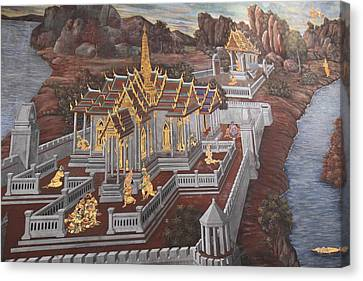 Mural - Grand Palace In Bangkok Thailand - 01135 Canvas Print by DC Photographer
