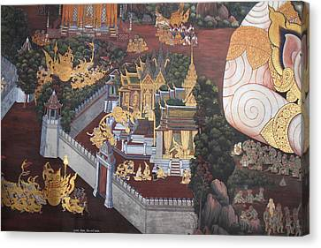 Mural - Grand Palace In Bangkok Thailand - 01139 Canvas Print by DC Photographer