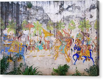 Mural Canvas Print - Mural In Castle Bijaipur, Rajasthan by Keren Su