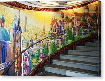 Mural In The Paris Metro Canvas Print by Kathy Yates
