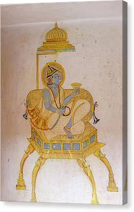 Mural Canvas Print - Mural Mehrangarh Fort 10th Century by Tom Norring