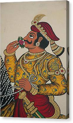 Mural Of A Prince, City Palace Canvas Print