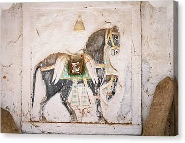 Mural Of Horse Inside Ghanerao Castle Canvas Print by Keren Su
