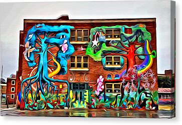 Mural On School Canvas Print by Alice Gipson