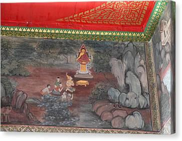 Mural - Wat Pho - Bangkok Thailand - 01134 Canvas Print by DC Photographer