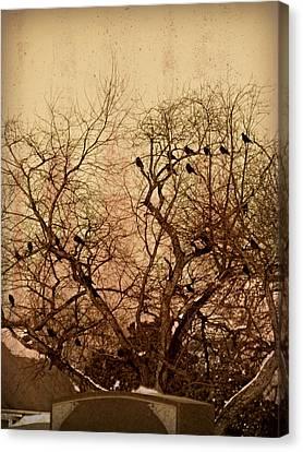 Murder In The Cemetery Canvas Print by Brenda Conrad