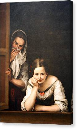 Murillo's Two Women At A Window Canvas Print by Cora Wandel