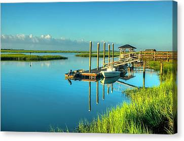 Canvas Print featuring the photograph Murrells Inlet Dock by Ed Roberts