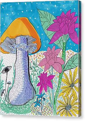 Murshroom Flowers And Fields Canvas Print