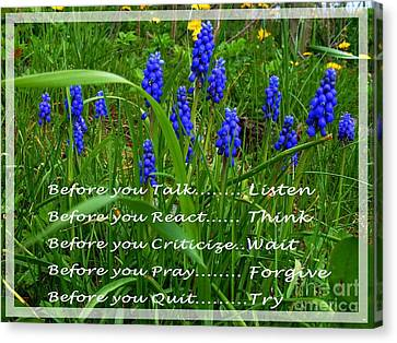 Muscari And Poem Canvas Print by Barbara Griffin