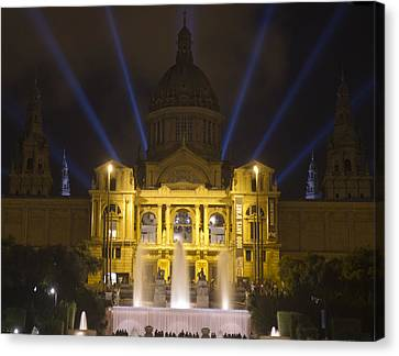 Canvas Print featuring the photograph Museu Nacional D'art De Catalunya Light Show by Nathan Rupert