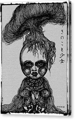 Mushroom And Girl Canvas Print by Akiko Okabe
