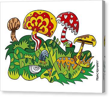 Vector Canvas Print - Mushroom Fantasy Doodle by Frank Ramspott