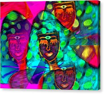 Mushroomlady In The Sun Happy Canvas Print by Hanna Khash
