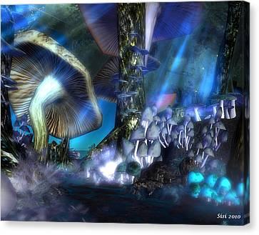 Canvas Print featuring the digital art Mushrooms by Susanne Baumann