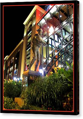 Canvas Print featuring the photograph Musial Statue At Night by John Freidenberg