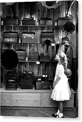 Music Boxes In Store Window Canvas Print by Retro Images Archive