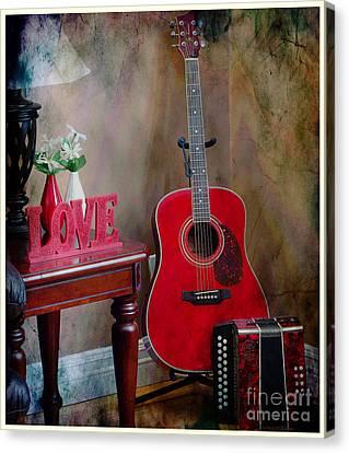 Music Corner - Guitar -  Accordion Canvas Print by Barbara Griffin