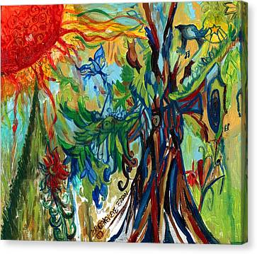 Music In Bird Of Tree Canvas Print
