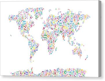 World Map Canvas Print - Music Notes Map Of The World by Michael Tompsett