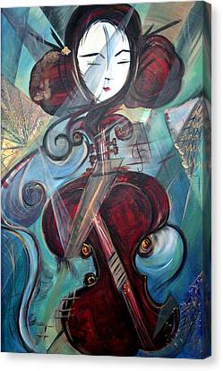 Canvas Print featuring the painting Music Of My Life by Dorothy Maier