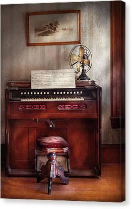 Music - Organist - My Grandmothers Organ Canvas Print by Mike Savad