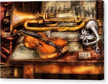 Musician - Horn - Two Horns And A Violin Canvas Print by Mike Savad