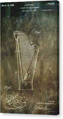 Classical Music Canvas Print - Musician's Harp Patent by Dan Sproul