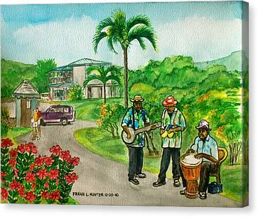 Musicians On Island Of Grenada Canvas Print