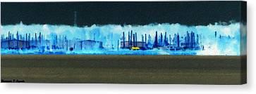 Muskegon Lake View Of Drydocked Sailboats At The Marina Canvas Print by Rosemarie E Seppala
