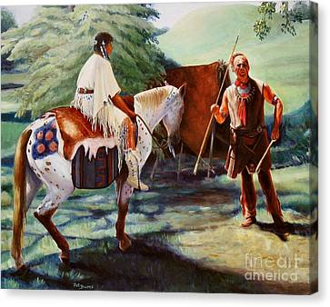 Canvas Print featuring the painting Muskogee Traditions by Pat Burns