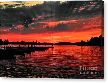 Muskoka Sunset Canvas Print by Les Palenik