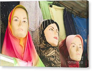 Muslim Woman Mannequin Wearing Headscarf-hijab Or Hijaab Canvas Print by Tuimages