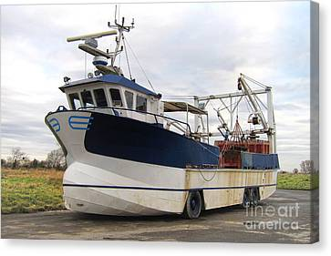 Dry Land Canvas Print - Mussel Boat by Olivier Le Queinec