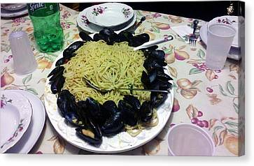 Canvas Print featuring the photograph Mussels And Pasta by Philomena Zito