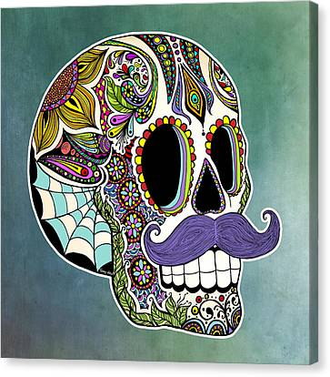 Mustache Sugar Skull Canvas Print by Tammy Wetzel
