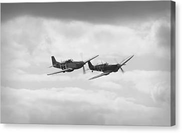 Mustang And Spiffier Fighter Planes Canvas Print by Maj Seda