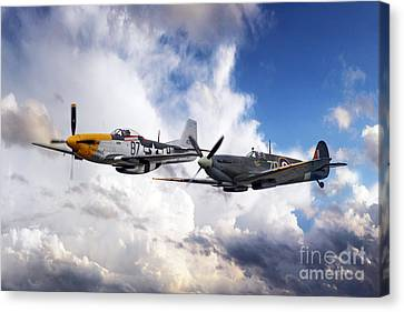 Mustang And Spitfire  Canvas Print by J Biggadike