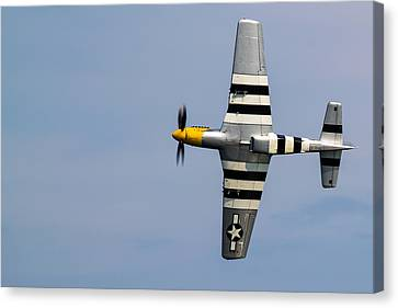 Canvas Print featuring the photograph Mustang Flyby D-day by Scott Lyons