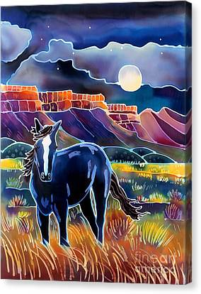 Mustang In The Moonlight Canvas Print by Harriet Peck Taylor